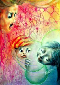 """""""Consolazione"""" acrilico su tela di Aurora Mazzoldi. Vi si ritrovano rabbia, paura e consapevolezza."""