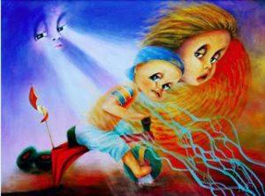 """Blunder""; acrylic painting on canvas. Aurora Mazzoldi"