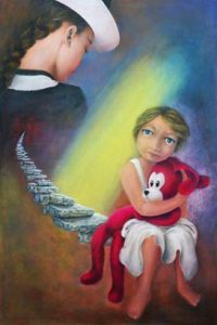 """Mother 6 - Loneliness""; acrylic on canvas. Aurora Mazzoldi. Mother and daughter avoid contact."