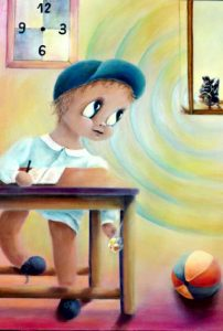 """Child in School""; acrylic on canvas by Aurora Mazzoldi. An example on how to achieve goals"