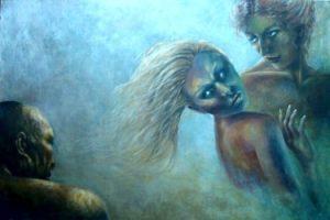 """""""Agganci"""":; acrilico su tela di Aurora Mazzoldi. Esempio di come vivere la coppia."""