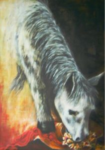 """""""Curiosity""""; acrylic on canvas by Aurora Mazzoldi. Page: """"How to deal with emotions"""""""