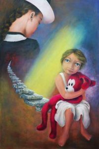 """""""Mother 6 - Loneliness"""" acrylic painting by Aurora Mazzoldi. A symbol of introspective path."""